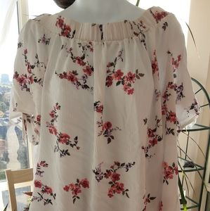 Off The Shoulder White Floral Top